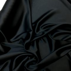 Satin de matase naturala cu elastan negru