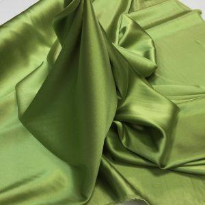 Satin de matase naturala cu elastan verde-olive