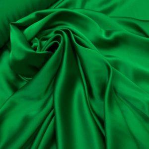 Satin de matase naturala cu elastan verde crud