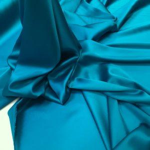 Satin de matase naturala cu elastan turquoise