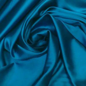 Satin de matase naturala cu elastan turquoise inchis