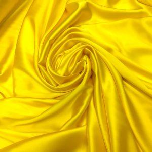 Satin de matase naturala cu elastan galben