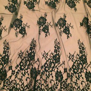 Dantela tip Chantilly verde inchis