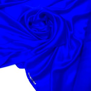Satin de matase naturala fara elastan albastru