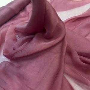 Voal chiffon de matase naturala roz-fumuriu