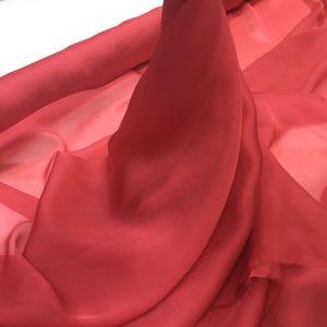 Voal chiffon de matase naturala rosu-coral prafuit