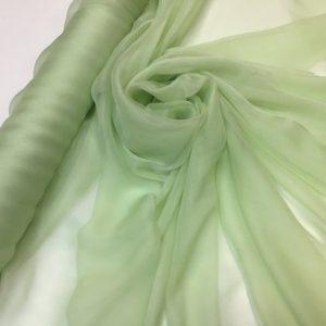 Voal creponat de matase naturala (muselina) verde-pastel