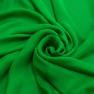Voal chiffon de matase naturala verde-crud