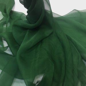 Voal creponat de matase naturala (muselina) verde inchis