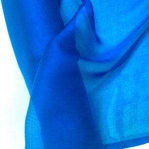 Voal chiffon de matase naturala bleu-turquoise
