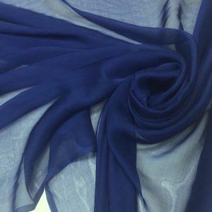 Voal chiffon de matase naturala albastru-inchis