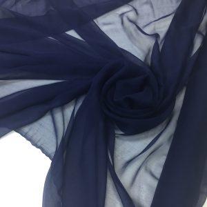 Voal creponat de matase naturala (muselina) bleumarin