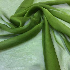 Voal chiffon de matase naturala verde-lime