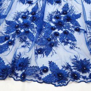 Dantela 3D albastru-intens