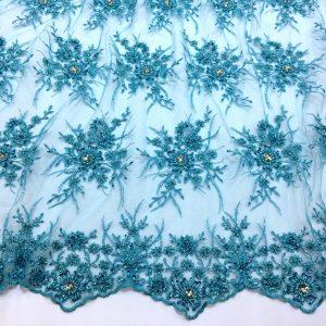 Dantela bleu-turquoise accesorizata
