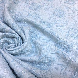 Brocart imperial bleu cu fir lame argintiu