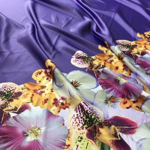 Tafta Duchesse bordura imprimeu floral