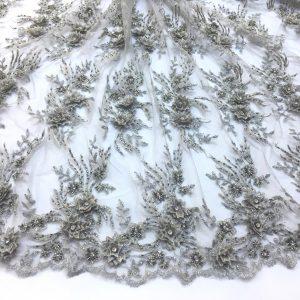 Broderie gri argintiu cu flori 3D