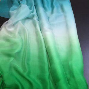 Voal chiffon de matase naturala degrade turquoise prafuit-verde