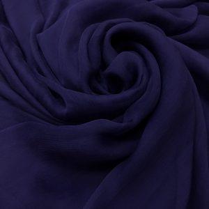 Voal creponat de matase naturala (muselina) bleumarin-indigo
