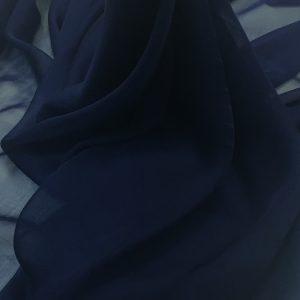 Voal chiffon de matase naturala bleumarin