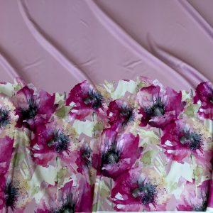 Tafta Duchesse roz-pastel imprimata digital