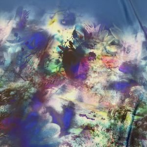 Tafta Duchesse albastru marin cu bordura imprimata digital