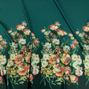 Tafta Duchesse verde cu bordura imprimeu digital