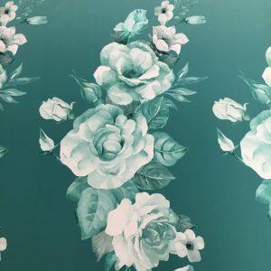 Tafta Duchesse degrade verde-aqua imprimata digital