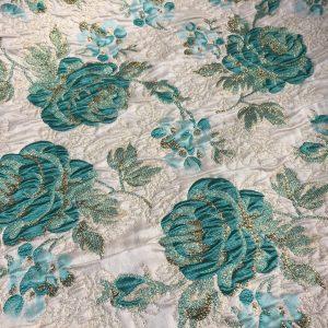 Brocart imperial turquoise cu fir lame auriu
