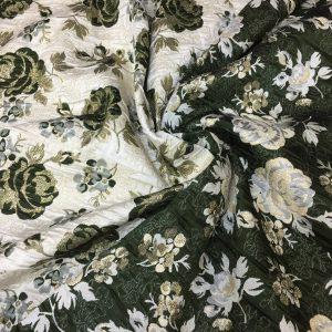 Brocart imperial verde-khaki cu fir lame auriu