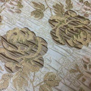 Brocart imperial beige cu fir lame auriu