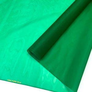 Organza de matase naturala verde-smarald