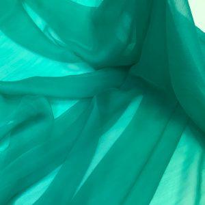 Voal creponat de matase naturala (muselina) turquoise