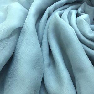 Voal creponat de matase naturala (muselina) Mineral Blue