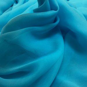 Voal creponat de matase naturala (muselina) bleu-turquoise