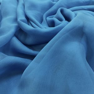 Voal creponat de matase naturala (muselina) bleu-prafuit