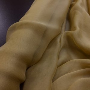 Voal creponat de matase naturala (muselina) beige-ocru