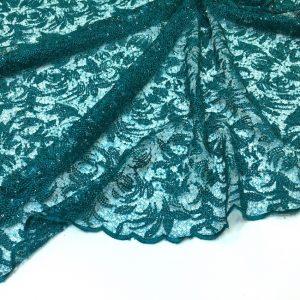 Broderie verde-turquoise cu paiete