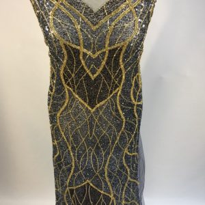 Panou tip rochie gri-petrol auriu