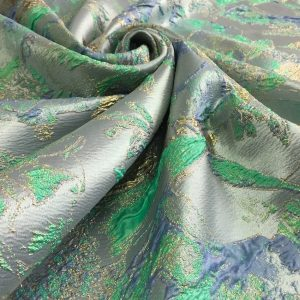 Brocart imperial bleu-verde aqua
