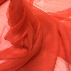 Voal creponat de matase naturala (muselina) rosu coral