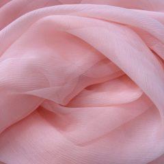 Voal creponat de matase naturala (muselina) roz-quartz