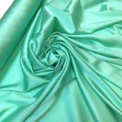 Satin de matase naturala cu elastan verde-aqua