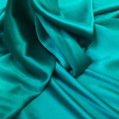 Satin de matase naturala cu elastan verde-turcoaz