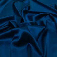 Satin de matase naturala cu elastan albastru-marin