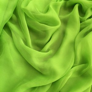 Voal creponat de matase naturala (muselina) verde neon