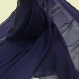 Voal chiffon de matase naturala bleumarin-indigo