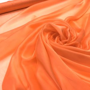 Voal chiffon de matase naturala piersiciu-orange