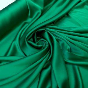 Satin de matase naturala cu elastan verde-smarald